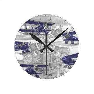 Biplano de Waco Reloj Redondo Mediano