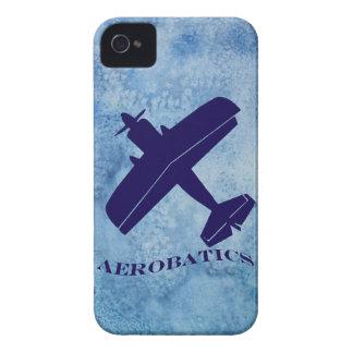 Biplano del azul de las acrobacias aéreas funda para iPhone 4 de Case-Mate