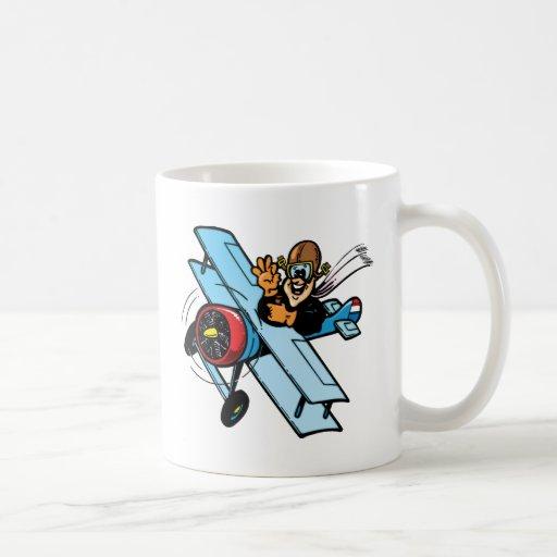 Biplano del dibujo animado taza de café