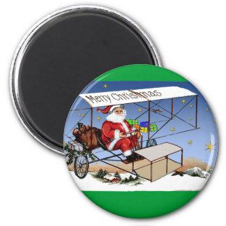 Biplano fresco Papá Noel del vintage Imán Redondo 5 Cm