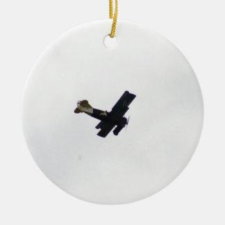 Biplano modelo en vuelo adornos de navidad