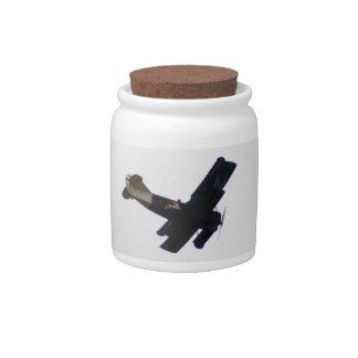Biplano modelo en vuelo jarra para caramelo