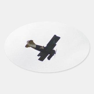 Biplano modelo en vuelo calcomanía ovaladas personalizadas