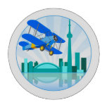 Biplano sobre el diseño retro de Toronto Juego De Fichas De Póquer