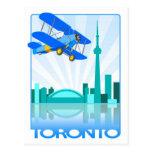 Biplano sobre el diseño retro de Toronto Tarjetas Postales