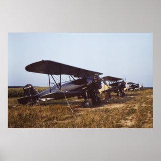 biplanos del plumero de la cosecha de los años 40 posters