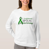 Bipolar Awareness Green Ribbon Ladies LS T-shirt