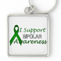 Bipolar Awareness Green Ribbon Premium Keychain