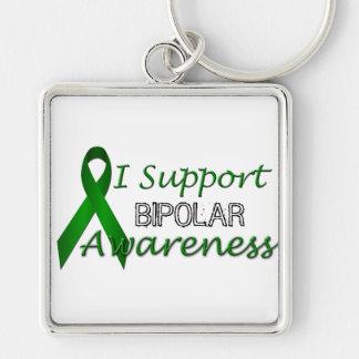 Bipolar Awareness Green Ribbon Premium Keychain