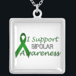 """Bipolar Awareness Green Ribbon Sterling Necklace<br><div class=""""desc"""">A vector (for high quality printing) graphic of a green Bipolar Disorder Support Awareness Ribbon on a variety of products. Add your text for a one-of-a-kind product.</div>"""