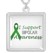 Bipolar Awareness Green Ribbon Sterling Necklace