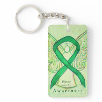 Bipolar Disorder Angel Awareness Ribbon Keychain