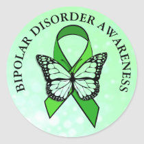 Bipolar Disorder Awareness Butterfly Ribbon Classic Round Sticker