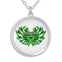 Bipolar Disorder Awareness Heart Wings Round Pendant Necklace