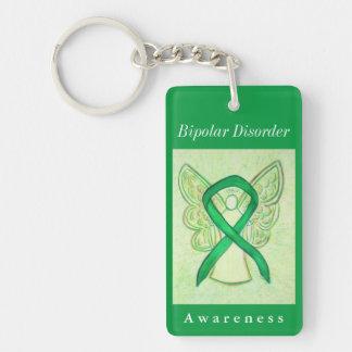 Bipolar Disorder Awareness Ribbon Angel Keychain