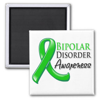 Bipolar Disorder Awareness Ribbon 2 Inch Square Magnet