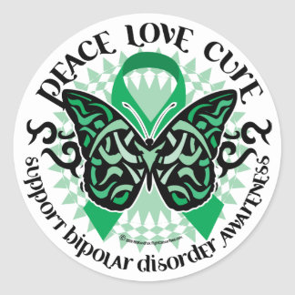 Bipolar Disorder Butterfly Tribal 2 Classic Round Sticker