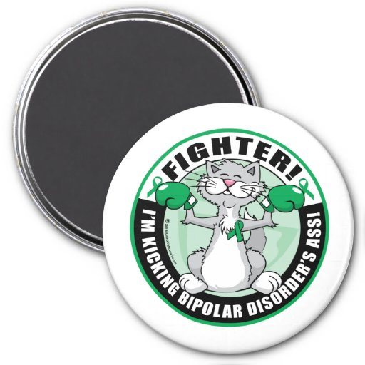 Bipolar Disorder Cat Fighter Refrigerator Magnets