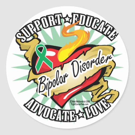Bipolar Disorder Classic Heart Round Stickers