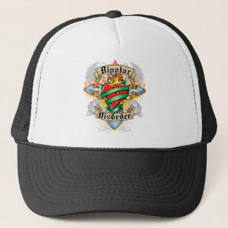 Bipolar Disorder Cross & Heart Trucker Hat