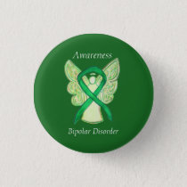 Bipolar Disorder Green Awarness Ribbon Angel Pin