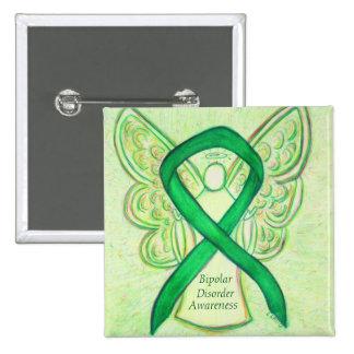 Bipolar Disorder Green Awarness Ribbon Angel Pin