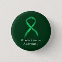Bipolar Disorder Green Awarness Ribbon Custom Pin