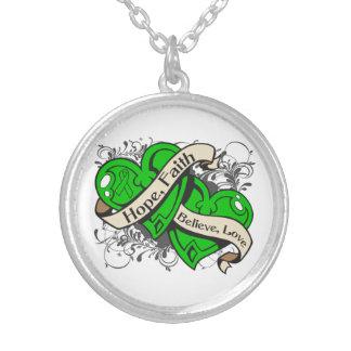 Bipolar Disorder Hope Faith Dual Hearts Round Pendant Necklace