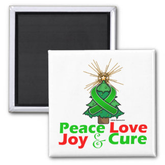 Bipolar Disorder Peace Love Joy Cure 2 Inch Square Magnet