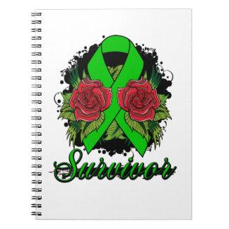 Bipolar Disorder Survivor Rose Grunge Tattoo Spiral Notebooks