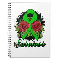 Bipolar Disorder Survivor Rose Grunge Tattoo Spiral Notebook