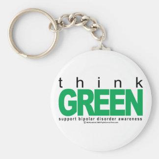 Bipolar Disorder THINK Green Keychain