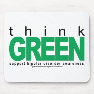 Bipolar Disorder THINK Green Mouse Pad