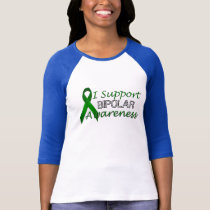 Bipolar Green Awareness Ribbon Ladies Raglan T-Shirt