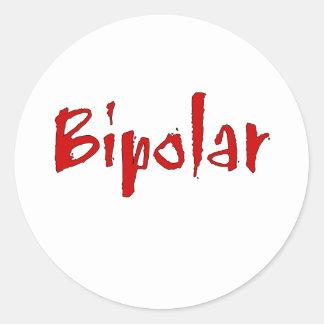 Bipolar rojo pegatina redonda
