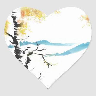 Birch and bunny heart sticker