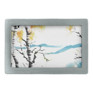 Birch and bunny rectangular belt buckle