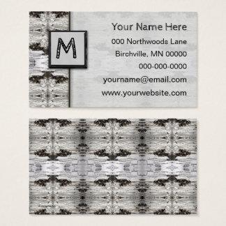 Birch Bark Black White Wood Design Business Card