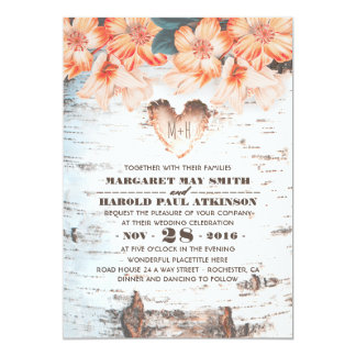 Birch Bark Carved Heart Rustic Country Wedding Invitation