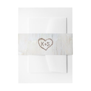 Valentines Themed Birch Bark Carved Heart Rustic Wedding Invitation Belly Band