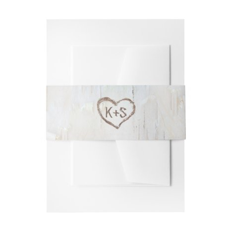 Birch Bark Carved Heart Rustic Wedding Invitation Belly Band