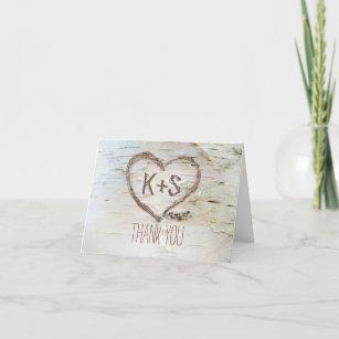 birch bark carved heart wedding thank you