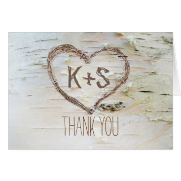 Valentines Themed birch bark carved heart wedding thank you card