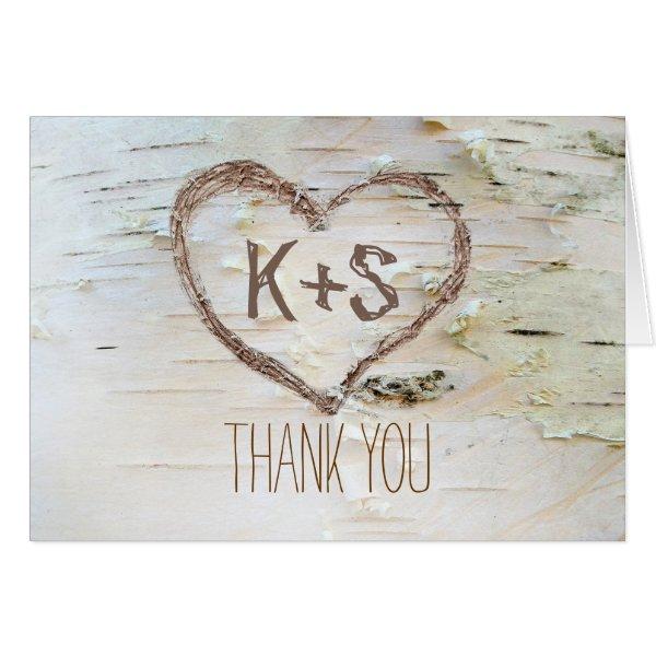 birch bark carved heart wedding thank you card