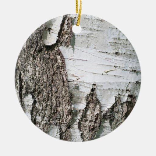 Birch Bark Double Sided Ceramic Round Christmas Ornament