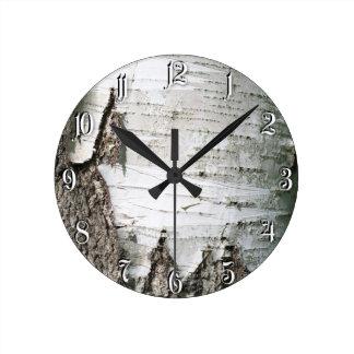 Birch bark round wall clock