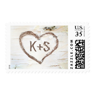 Birch Bark Heart Rustic Country Wedding Postage