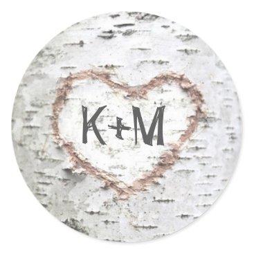 Valentines Themed Birch Bark Heart Rustic Wedding Classic Round Sticker