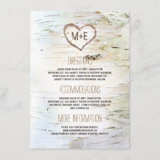 Birch Bark Heart Rustic Wedding Information Enclosure Card