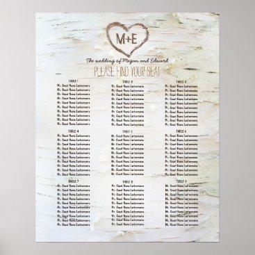 Valentines Themed Birch Bark Heart Rustic Wedding Seating Chart